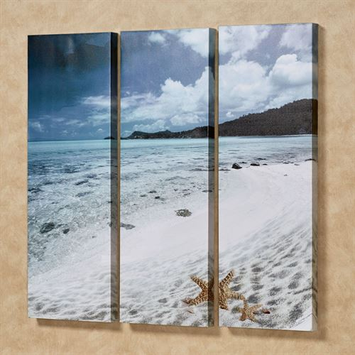 Paradise Beach Triptych Canvas Wall Art Multi Cool Set of Three