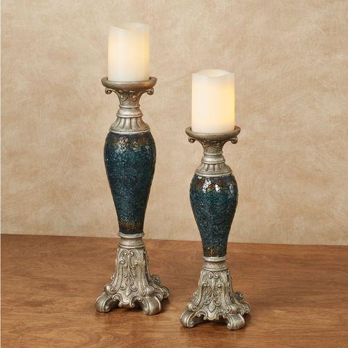Kyara Mosaic Candleholders Blue Set of Two