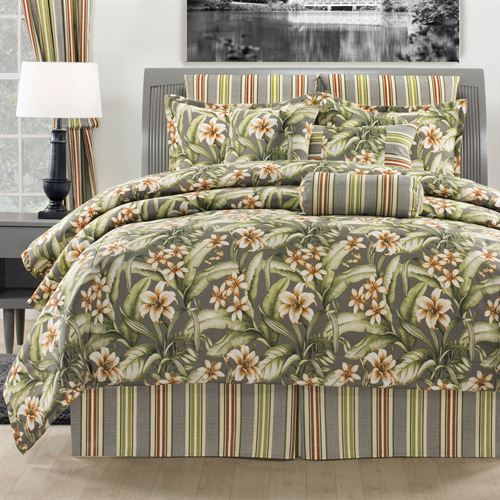 Tropical Lily Comforter Set Dark Gray