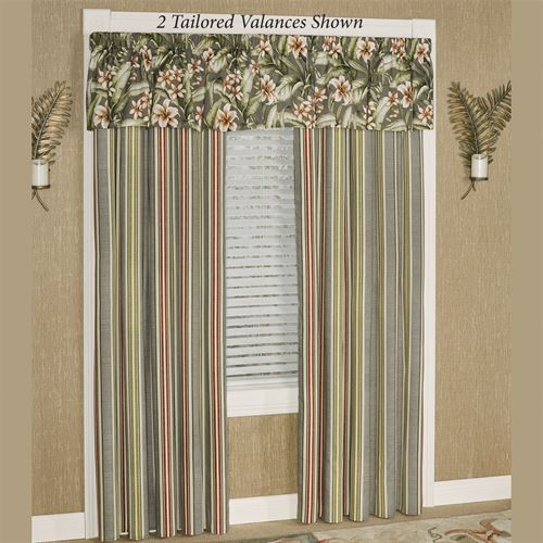 Tropical Lily Tailored Valance Dark Gray 52 x 17
