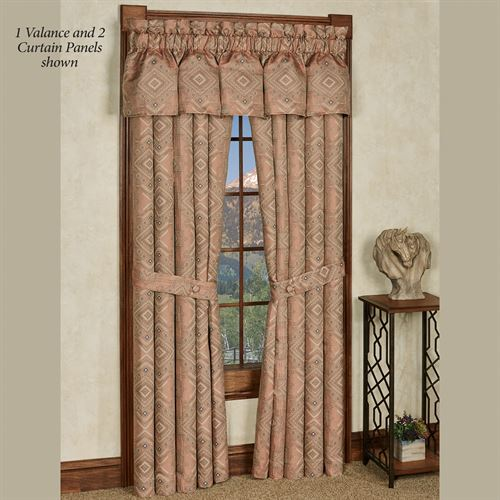 Saratoga Geometric Curtain Panel Coral 48 x 84