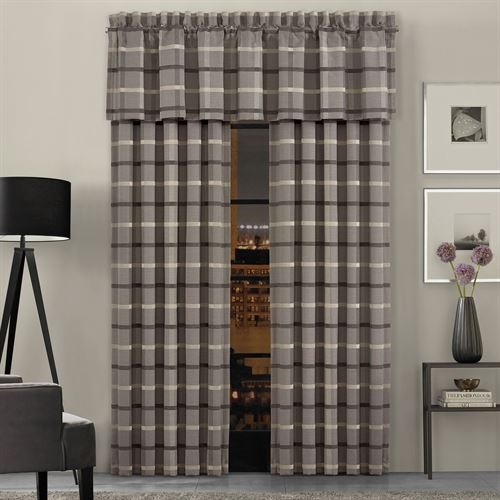 Sutton Plaid Wide Tailored Curtain Pair Gray 100 x 84