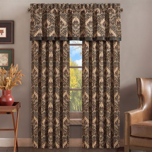 Lanoke Wide Tailored Curtain Pair Multi Earth 100 x 84
