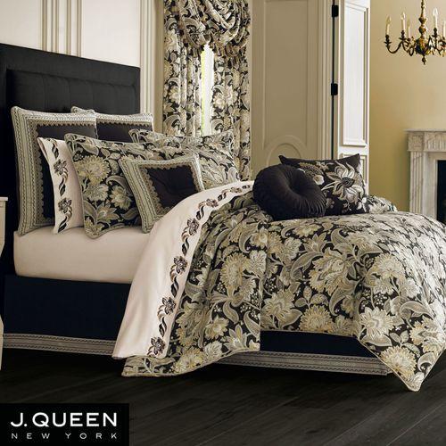 Midnight Mist Black Jacobean Floral Comforter Bedding By J Queen New York