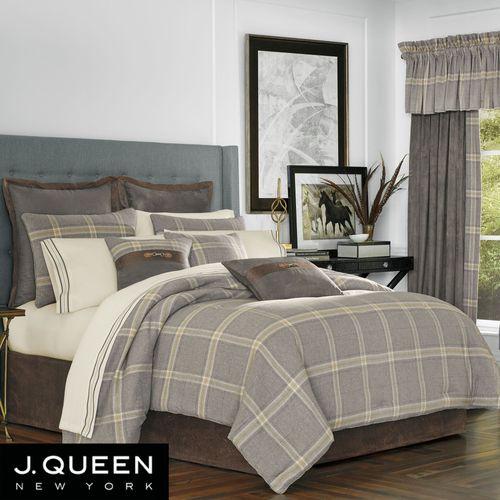Jaspen Gray Plaid Brushed Flannel Comforter Bedding By J