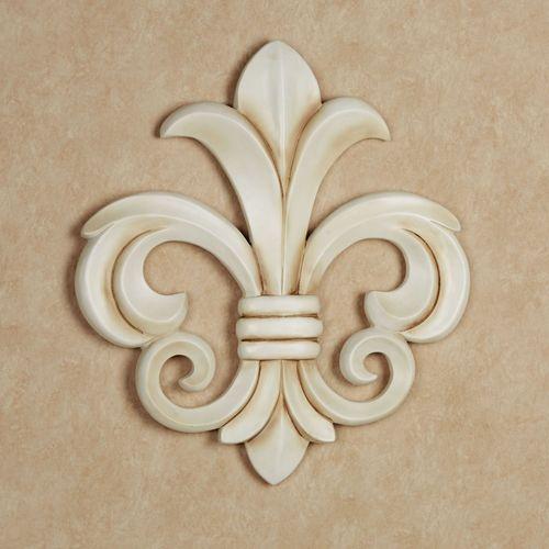 Louis VII Fleur de Lis Wall Plaque Antique Ivory