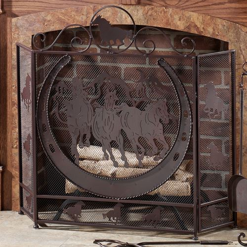 Thundering Hooves Fireplace Screen Brown
