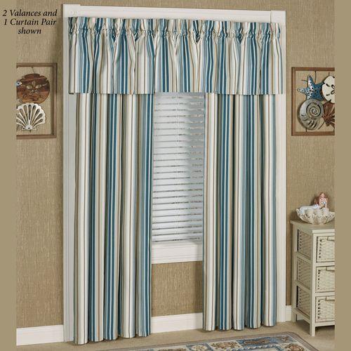 Savannah Stripe Wide Tailored Curtain Pair Multi Cool 100 x 84