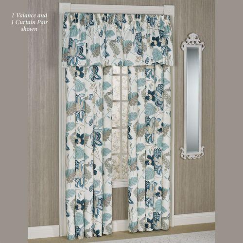 Savannah Floral Wide Tailored Curtain Pair Multi Cool 100 x 84