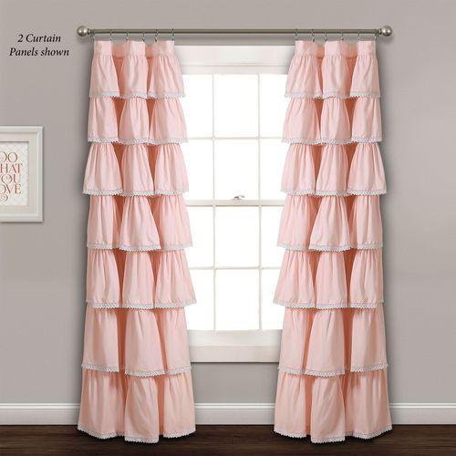 Iridessa Ruffled Curtain Panel Coral Pink 52 x 84