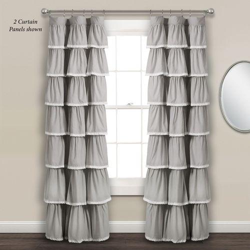 Iridessa Ruffled Curtain Panel Gray 52 x 84