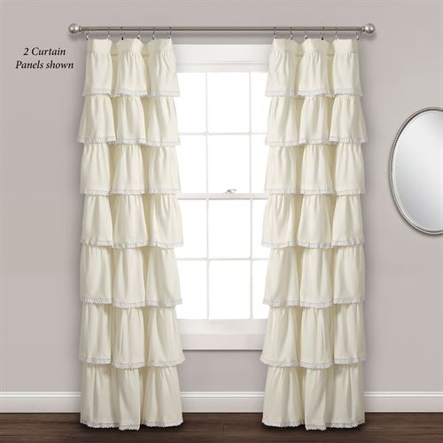 Iridessa Ruffled Curtain Panel Light Cream 52 x 84