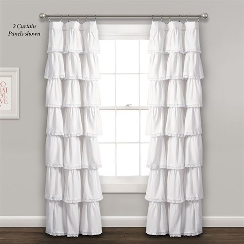 Iridessa Ruffled Curtain Panel White 52 x 84