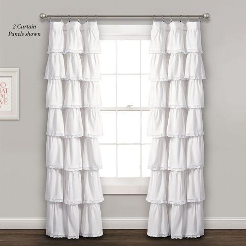 Iridessa Ruffled Curtain Panel White 52 x 84