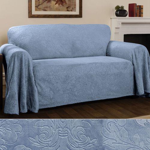 Elegant Damask Furniture Cover Cerulean Blue Chair