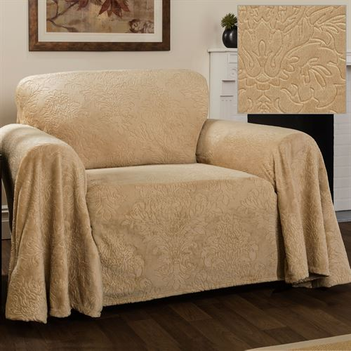 Elegant Damask Furniture Cover Straw Chair