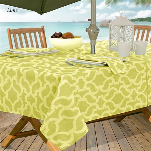 Augustine Water Repellent Outdoor Tablecloth With Umbrella Hole And Zipper Zippered Oblong 60 X 84