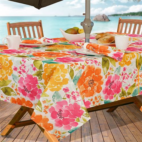 Outdoor Tablecloth With Umbrella Hole And Zipper Belina Fl Zippered Oblong Multi Bright 60 X 84