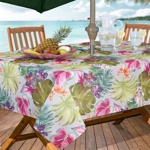 Outdoor Tablecloth With Umbrella Hole And Zipper Lilo Tropics Zippered Oblong Gray 60 X 84
