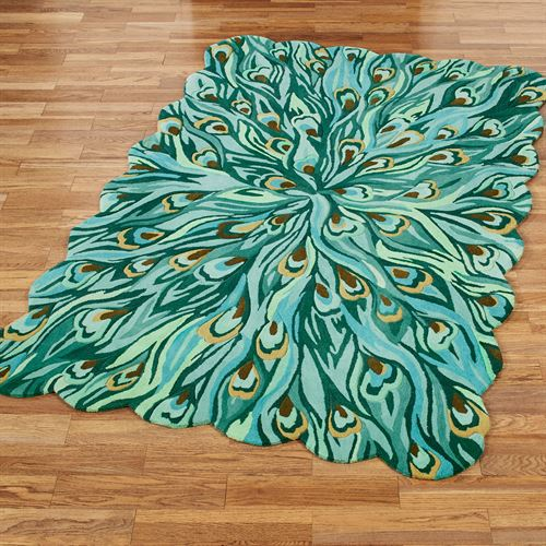 Peacock Flair Rectangle Rug Aqua