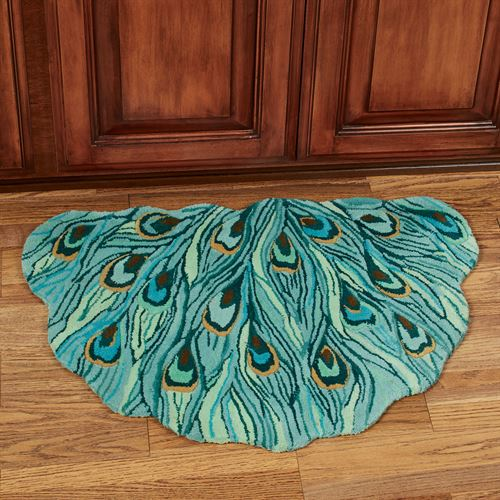 Peacock Flair Slice Rug Aqua 33 x 21