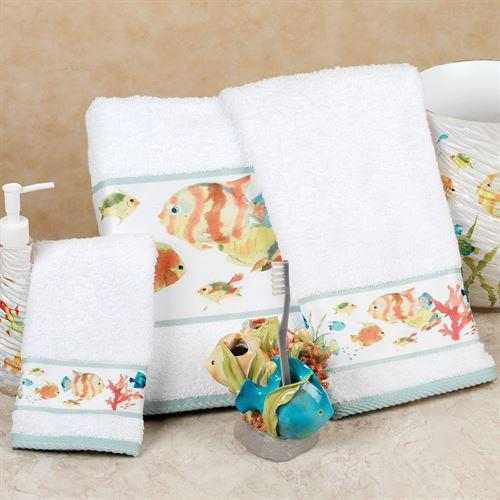 Rainbow Fish Bath Towel Set White Set of Three