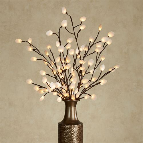 Silver Dollar Lighted Branch White