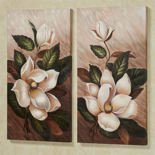 Annas Magnolias Floral Canvas Wall Art Multi Warm Set of Two