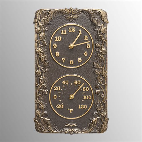 Secluded Garden Wall Clock Thermometer Bronze