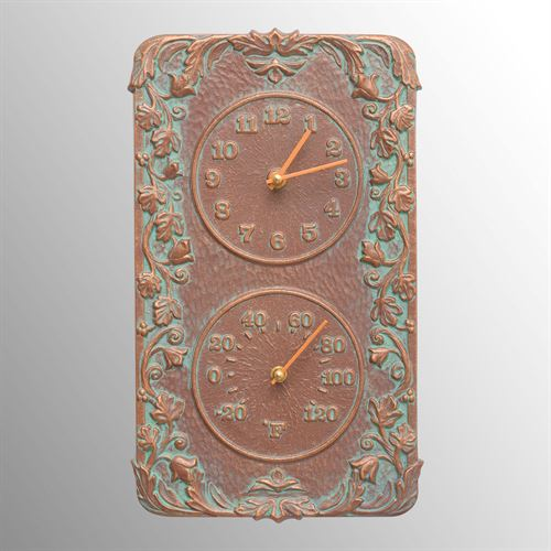 Secluded Garden Wall Clock Thermometer Copper