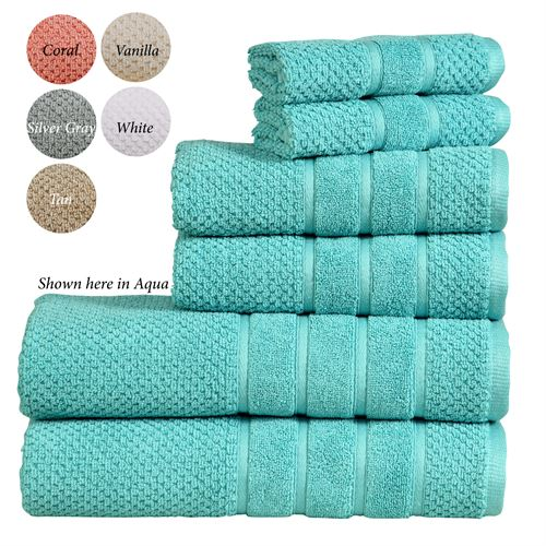 Bibb Home Bath Towel Set Six Piece Set