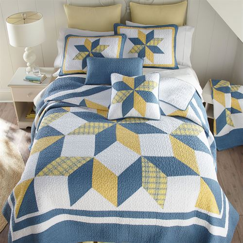 Sunny Star Patchwork Quilt Federal Blue