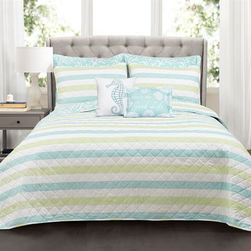 Maritime Stripe Quilt Bed Set Multi Cool