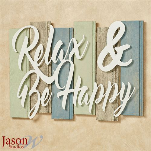 Sentiments Coastal Relax Wall Plaque Sign Ivory Multi Cool