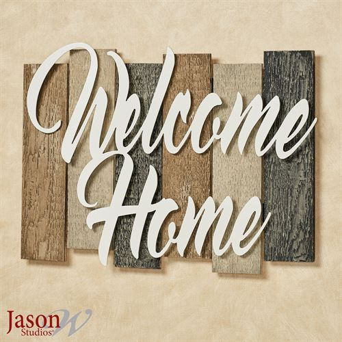 Sentiments Urban Welcome Wall Plaque Sign Ivory Black Tan