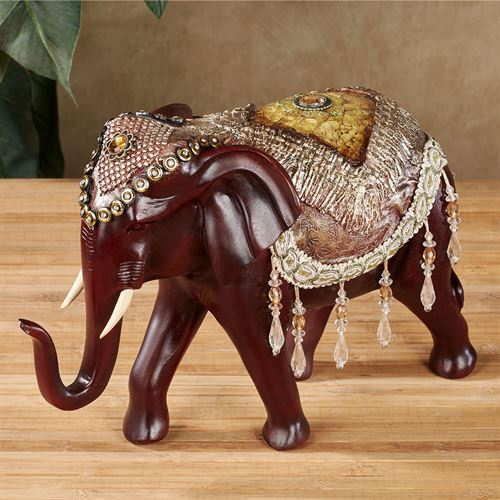 Bejeweled Decorated Elephant Table Sculpture Brown