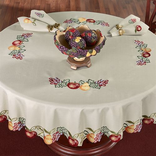 Fruitful Round Tablecloth Oatmeal 70 Diameter