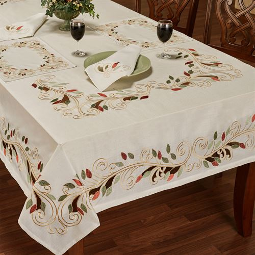 Scrolling Leaves Oblong Tablecloth Oatmeal