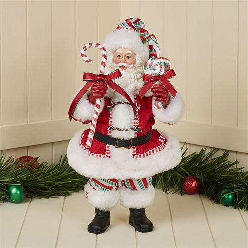 Peppermint Santa Clothtique Figurine Red
