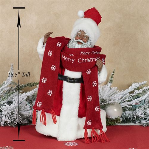 Bundled Up Clothtique African American Santa Figurine Red