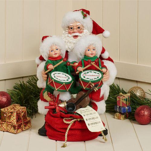 Little Drummers Clothtique Santa Figurine Red