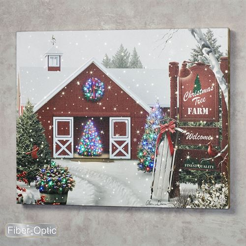 Christmas Tree Farm Lighted Canvas Wall Art Red