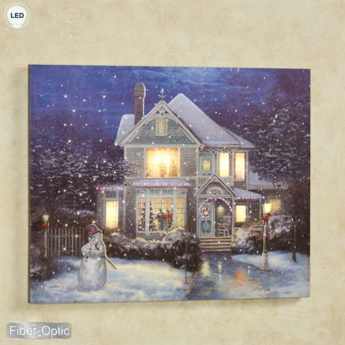 Holiday Cheer Lighted Canvas Wall Art Multi Warm