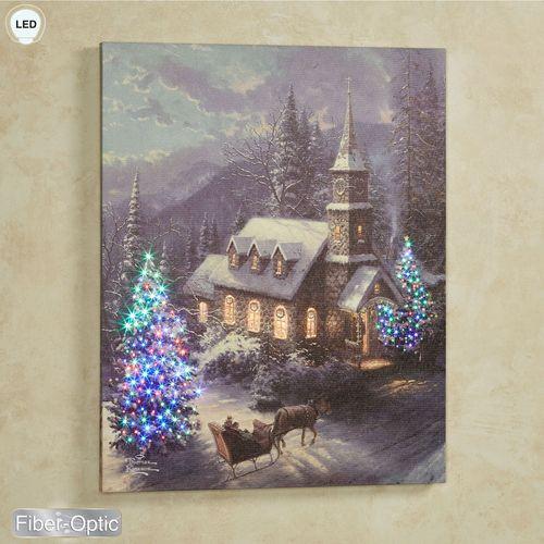 Christmas Sleigh Ride Lighted Canvas Wall Art Multi Warm