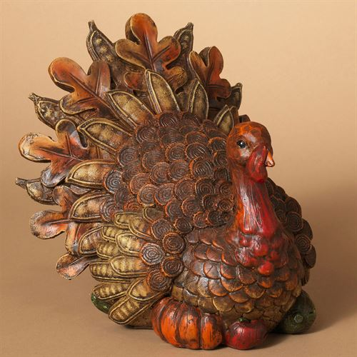 Turkey Tom Thanksgiving Table Accent Brown
