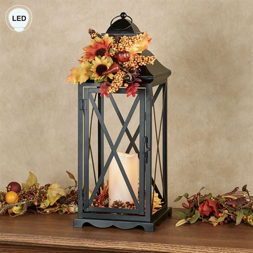 Country Lane LED Lantern Black