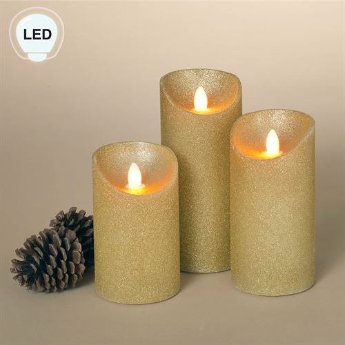 Holiday Shimmer LED Flameless Candles Gold Set of Three