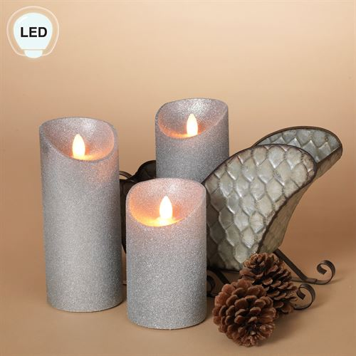Holiday Shimmer LED Flameless Candles Silver Set of Three