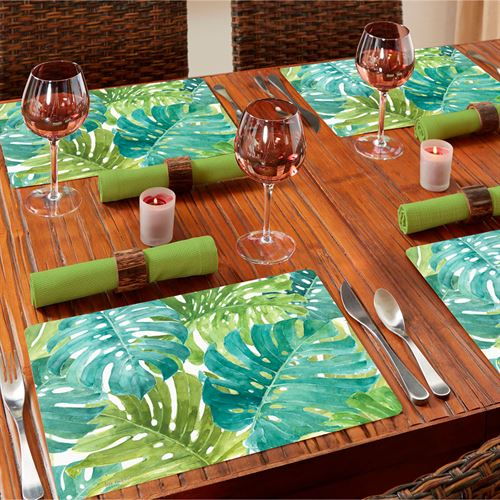 Tropical Green Hardboard Placemats Multi Cool Set of Four