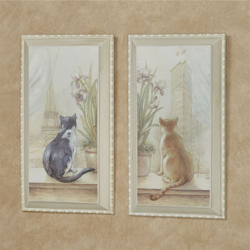 Urban Felines Cat Wall Art Plaques Multi Warm Set of Two